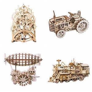 Robotime 8 أنواع diy جير محرك خشبي الميكانيكية نموذج بناء أطقم الجمعية لعبة هدية للأطفال مراهقون الكبار LGLK Y190530