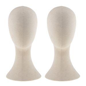 "22 \"" Canvas Bloco Mannequin cabeça peruca Fazendo Hat Cap Display Stand 2pcs Bege"