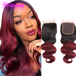 Indian Human Hair Lace Closure With Baby Hair 1B 99j Straight Body Wave 4X4 Lace Closure 1B 99j Two Tones Color 10-20inch