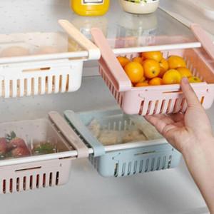 1шт Симпатичные Выдвижной Холодильник Partition Многоцелевой хранения стойку Холодильник Свежее по поддержанию Толкай Тип стеллаж для хранения