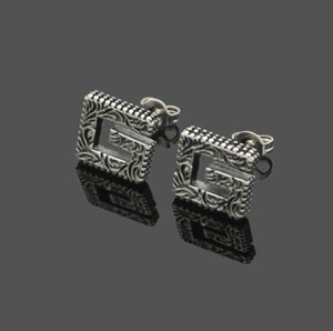 Square pattern Earrings foreign trade carved pattern earrings for men and women lovers