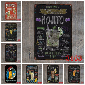 Cocktail Tin Sign Vintage Metal Sign Plaque Metal Vintage Wall Decor For Bar Pub Club Man Cave Retro Metal Posters Iron Painting