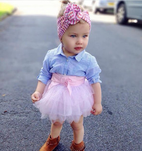 Primavera nuove ragazze camicia di risvolto a righe di cotone fresco + vestito gonna di maglia rosa