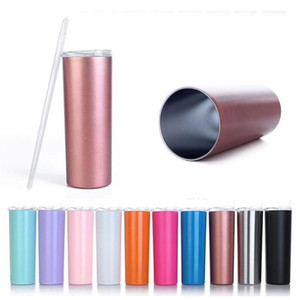 36 colors stainless steel skinny tumbler 20oz 30oz double walled vacuum insulated blank sublimation tumbler with straw