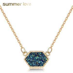 For Stone Geometry Gold Silver Pendant Necklace Plating Women Resin Color High Quality 10 Crystal Necklace Fashion Wholesale Jewelry Jojoa
