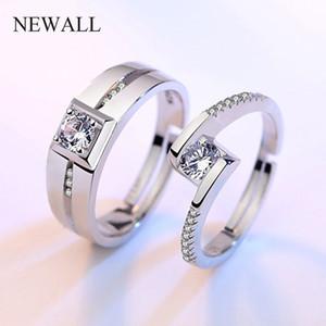 2adet / set klasik çift düğün açık Halka Bijoux Kadın Moda Takı Gümüş cz nişan yüzüğü Kadınlar Promise Hediye toptan