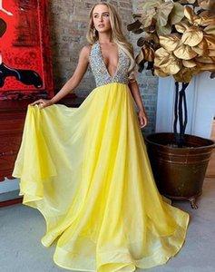Halter amarillo largo atractivo de vestidos de baile de cristal ilusión Top gasa traje de noche sin espalda más el tamaño de vestido de la ocasión Boutique