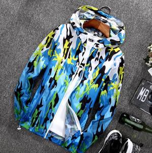 Camuflagem Montanhismo e equitação Jackets Light Weight Sun Protective respirável com capuz Brasão Water Resistant Blusão Casacos