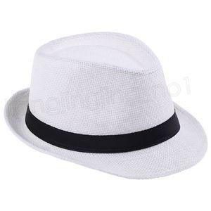 Moda Panamá Chapéus de palha Fedora Macio Homens Mulheres Summer Beach Sun Straw Stingy Brim exterior Caps FFA3715G