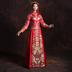 절묘한 여성 Cheongsam Suzhou 자수 신부 웨딩 드레스 클래식 무대 쇼 의류 참신의 이브닝 가운 Vestidos