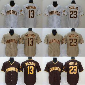 Juvenil 2020 San Diego Jersey 13 Manny Machado 23 Fernando Tatis Jr. Todo cosido Niños béisbol jerseys blancos Tan Brown