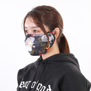 UPS Free Shipping 100% Cotton Designer Face Mask with Valve Washable Reusable Face Mask Anti Pollution Anti Dust Individual Package