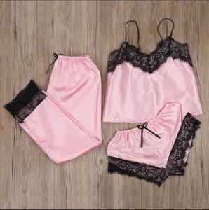 ] Kadın pijamalar İç Seksi İpek gibi Seti Dantel Pijama Kolsuz Sevimli Cami Babydoll V-Yaka pijama mujer Üç parça Suit