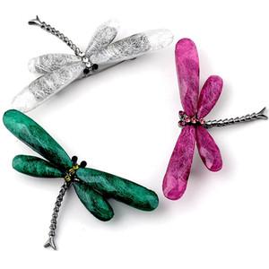 Bonito Dragonfly Broches Pinos Resina Animal Insect Cristal Pin Broche Casacos Brasão shirt gola pin Roupas Jóias