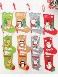 Weihnachtsstrümpfe nette Karikatur-Weihnachtsmann Snowman Penguin Stiefel Socken Weihnachtsbaum-Anhänger-Familien-Feiertags-Weihnachtsfest-Dekorationen JK1910