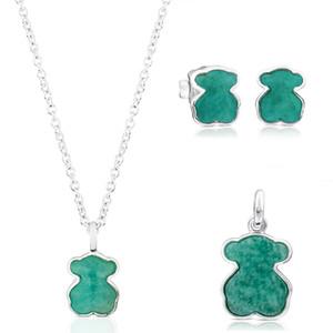 Regalo 2019 100% 925 Sterling Silver Jewelry Tianhe pietra Orso pendente degli orecchini di alta qualità della collana di modo delle donne di nozze