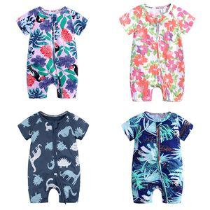IN Baby-Strampler Printed 37 Farben Baby-Strampler Blumen-Dinosaurier-Kleinkind-Onesies Kinder beiläufige Kleidung Jungen-Karikatur Jumpsuits 3M-3T 060306