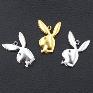 liga Coelho 100pcs Silver / Gold Pop Pendente do ornamento Coelho Gentleman Charme animal bonito Charme DIY Handmade Jewelry presente