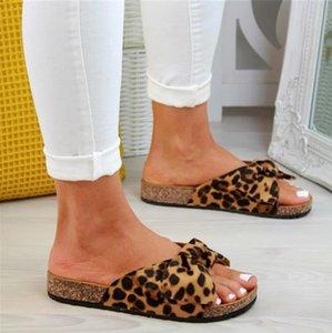 Bow Slippers 2020 Women Leopard Slides Platform Women's Summer Slip On Footwear Ladies Fashion Flats Female Casual Beach Shoes