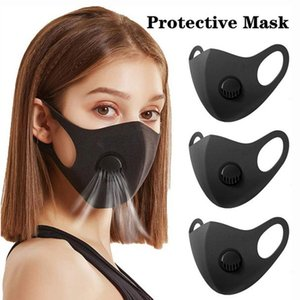 Ice Шелковой маску для лица с Дыхательным клапаном моющегося Губка Маской многоразового Anti-Dust Велоспорт Защитных масок черного Перезарядка Проектировщик маской