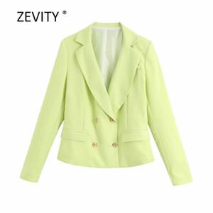Zevity Frauen Reverskragen Taschen Business-Blazer Bürodameklagen ZWEIREIHIGER kausal stilvoll outwear Mantel-Oberteile C517