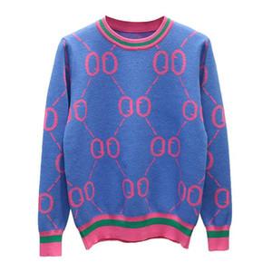 Moda famosa marca para mujer otoño invierno suéteres de manga larga para mujer prendas de punto suéteres para mujer elegante de punto Tops
