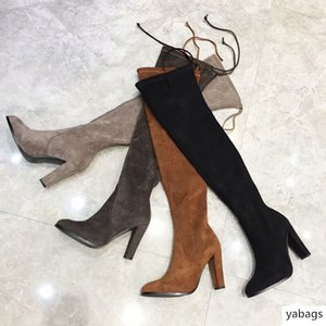 suede stretch over the knee boots woman pointed high heel 9.0com shoes ladies sexy stovepipe boots autumn and winter women'