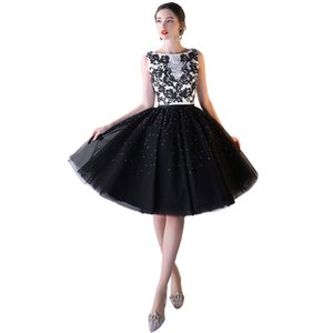 Bling Scoop Neck Knee Length Evening Dresses with Tulle Skirt 2020 Short Ball Gown Party Dress Women Formal Gowns
