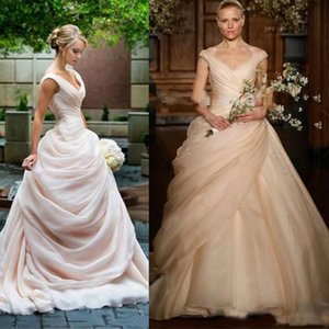 Elegant Blush Pink Ballkleid Brautkleider Lange geraffte V-Ausschnitt Side Draped Pick Up Prinzessin Garten Brautkleider 2019 Braut Party Kleider