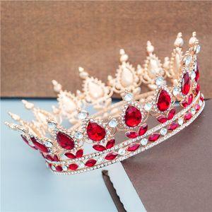 Kadınlar Düğün hiar Takı Kristal Tiaras ve Kron headpieces Kraliçe Moda Diadem Gelin C19010501 Kalite Yuvarlak Gelin Tiara Taç