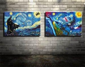 Batman, Joker, Noite Estrelada, Imprimir 2 Pieces HD tela Home Decor Art Pintura (Unframed / Framed)