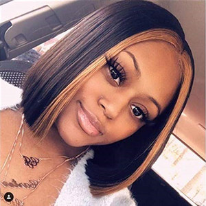 Highlight Color Ombre Short Bob Blonde Lace Front Human Hair Wig Baby Hair Remy Brazilian Full Lace Wigs Pre Plucked Natural Hairline