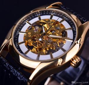 Kazanan Navigator Serisi Retro Altın İskelet Beyaz İzle Otomatik Erkek Deri El saatler Erkekler İzle Otomatik Lüks Üst Marka