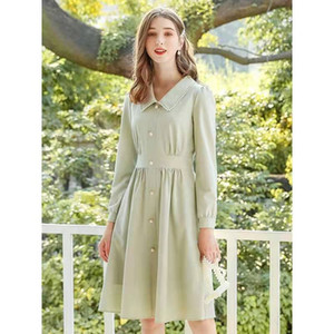 женщины осень зима флис платье роскошные дизайнер старинные платья империи-line повседневная платье офис леди светло-зеленый платья S-XL