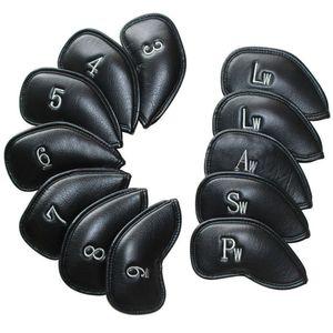 12 adet / takım Deri Golf Kulübü Demir Kafa Golf Başörtüsü Baş Örtüsü Kapakları Yüksek Kaliteli Aksesuarları