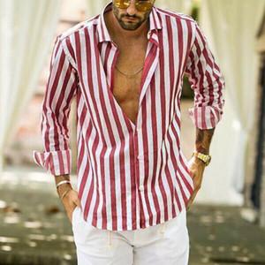 Moda verano del `s de algodón de lino a rayas de manga larga camisa casual hombres flojo da vuelta-abajo al collar cómodo top de la blusa