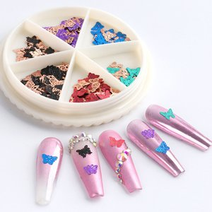 Ins Fashion Hot Sale Nail Art Three-Dimensional Butterfly Jewelry Colorful Gold-Plated Frosted Nail Styling Alloy Nail Art