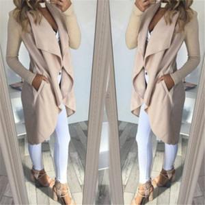 المرأة سترة معطف الخريف الأخلاط جيوب كم طويل التلبيب الياقة سليم المعطف عادية غير المتكافئة لباس خارجي دثار