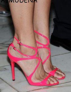 Hot Sale-2019 Gold Metallic Leather Strappy Lance Sandals Women Party Shoes Mujer Escotadura abierta Hebilla Tacones altos Gladiador Sandalias Women