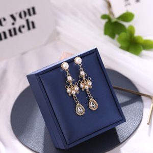 925 silver needle earrings Baroque court style micro-set rhinestone pearl female retro drop earrings 8551