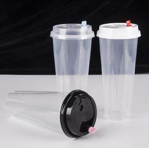 700 ملليلتر 24 أوقية المتاح أكواب بلاستيكية رشاقته حقن الحرارة مقاومة الحليب كوب الشاي شفافة المشروبات الساخنة عصير القهوة القدح مع غطاء