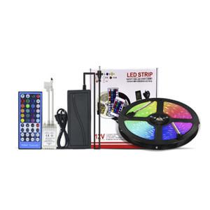 5050 RGBW 5M LED strip light Tape (RGB+White Warm White) DC12V Flexible Ribbon lamp 60LEDs M 40key Controller + 5A Power Supply Adapter