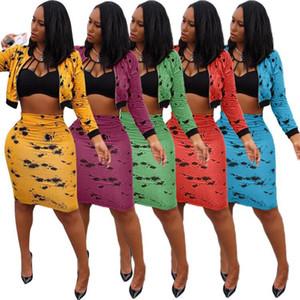 Fashion Damen Jacke + Rock Langarm Zweiteiler Hot New Herbst New Printed Set Reißverschluss-Mantel und Rock Sets