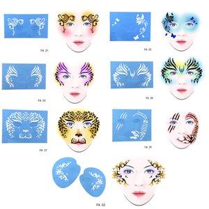 7 Sets wiederverwendbarer Kunststoff Gesicht Körper Kunst Malerei Stencils Tattoo Schablone Zubehör für Party / Urlaub Make-up