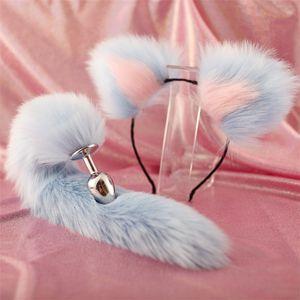 Frete grátis 40 centímetros All-azul cauda cor Two-Card Cabelo Plush ouvido clipe dramatizações Make-up Metal Expansão Discount Store