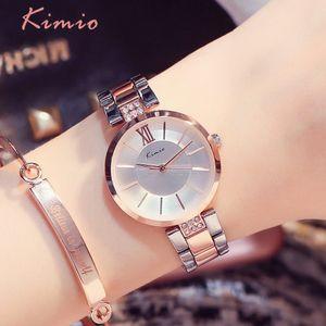 KIMIO Простой тонкий Rhinestone розового золота кварцевые часы Женщины моды 2019 Женские часы Женские часы наручные часы платье для женщин