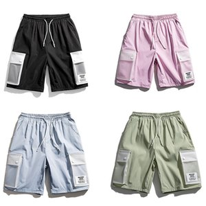 2020 New Sports Shorts Men Fashion Brand Street Casual PVC Big Pocket Designs Tooling Cropped Pants Beach Swimming Clothes Homme
