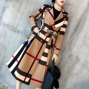 Otoño e invierno nueva solapa mediano y largo estilo de color simple retro dama temperamento windbreake