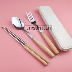 50se Wooden Handle Dinnerware Set Japanese Style Picinc Outdoor Travel Stainless Tableware Catlery