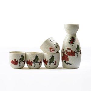 5pcs elegante giapponese Cherry Blossom Sake Set con Bird calligrafia cinese ceramica bottiglia Pot Fiaschetta coppe di vino asiatico Gifts